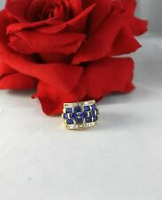 Sterling Silver Vermeil Blue 8.61g Size 6 Cocktail Ring Cat Rescue