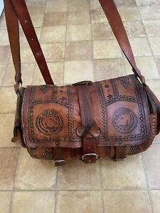 Vintage Large Brown Hand Tooled Horses Chinese Leather Holiday Shoulder Tote Bag