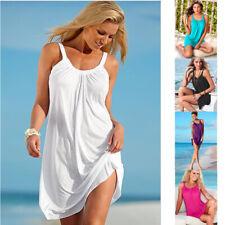 New Women Summer Sleeveless Crew Neck Dress Loose Solid Beach Casual Sundress