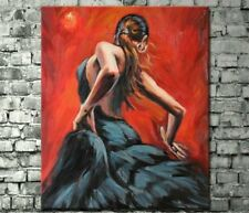 Hand Painted Oil Painting on canvas:Spanish Flamenco Dancer unframed