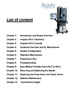 Waters Acquity H Class  HPLC  Field Service Training Power Point files