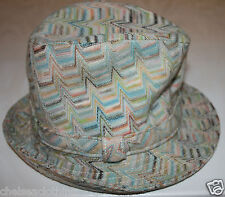 ORIGINAL MISSONI Hat Trilby/Fedora Wool Striped Pastels Blue/White Wedding/Races