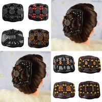 Hairpin Hair Comb Clip Double Hair Decor Wood Beads Elastic Slide Magic Women