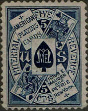 """RU#13c-PINK PAPER 1877-78 5c """"VICTOR E.MAHGER & PETRIE)"""" PRIVATE DIE MATCH ISSUE"""
