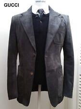 GUCCI grey suede leather blazer sportcoat coat suit jacket Tom Ford era 40 50 M