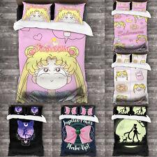 Sailor Moon 3PCS Anime Bedding Set Comforter Cover Pillowcases Twin Queen King