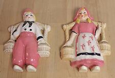 Vintage Mid Century Ceramic Wall Hanging Dutchboy & Girl Pink Occupied Japan