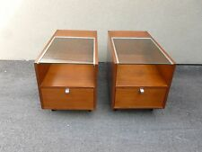 PAIR EARLY HERMAN MILLER GEORGE NELSON GLASS TOP END TABLES