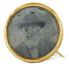 Mourning Pin Jewelry Daguerreotype Victorian Antique Tin Type Photo