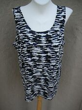 New Chico's Travelers Cyber Print Black White Silver Purple Tank Top 3 XL 16/18