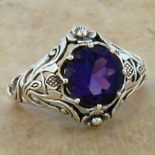 2 Ct HYDRO AMETHYST ANTIQUE NOUVEAU STYLE .925 SILVER FILIGREE RING Sz 10,  #356