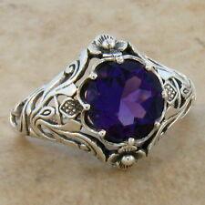 .925 Sterling Silver Ring Sz 5, #356 2 Ct Hydro Amethyst Antique Nouveau Design