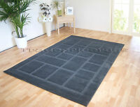 SMALL - EXTRA LARGE CHARCOAL DARK GREY THICK MODERN SQUARES BLOCKS CARVED RUG