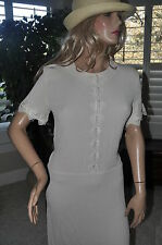 Vtg 80s NWT DEADSTOCK Pale Peach Gauzey Lace MIDI Tea Dress 8 Carol Anderson