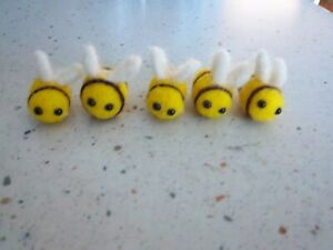 "Cute 3X 5 Handmade Felted Bees Bumblebees Embellishment Decor Toy 1"" Super Cute!"