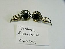 Vintage silver Tone black enamel rose flower old Screw Back  Earrings