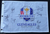 TEAM USA SIGNED 2014 RYDER CUP FIELD FLAG RICKIE FOWLER FURYK JOHNSON 9 SIGS J1