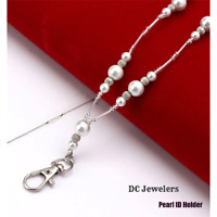 Pearl Silver Ladies Women's Pretty ID Badge Keys Holder Necklace Lanyard New