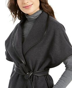 Calvin Klein Women's Layering Cozy Cape Sweater One Size Fits Most Charcoal