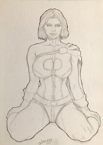"Power Girl (9""x12"") Original Art Comic Sexy Pinup By Sancara - Ed Benes Studio"
