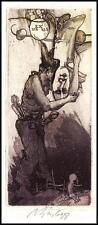 Virgilijus Augustinas Burba C3 Exlibris 1988 Bookplate Erotic Woman Man s764