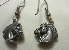Horse Head Earrings 925 Sterling Silver Dangle Drop Equestrian Classic Micro 3D