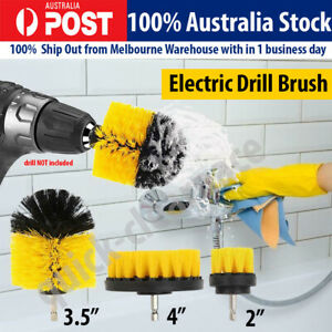 Grout Power Scrubber Cleaning Drill Brush Tub Cleaner Combo Tool Kit Yellow