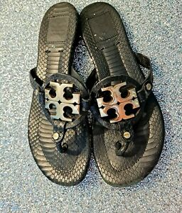 Tory Burch Embossed Leather Metal Miller Sandals Black Size 8