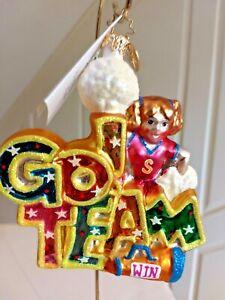 "Christopher Radko ""TEAM SPIRIT"" Ornament Cheerleader Go Team Pom-poms STARS WIN"