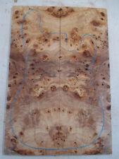 "Poplar Burl Guitar Bookmatch Set Musical Luthier tone wood .34 x 7.5 x 22"" - P12"
