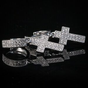 2pc Men Sterling Silver Iced Cz Cross Drop Dangle Huggie Hinged Hoop Earrings