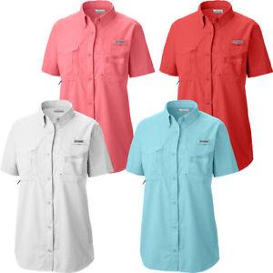 "New Womens Columbia PFG ""Bahama"" Omni-Shade Vented Short Sleeve Fishing Shirt"