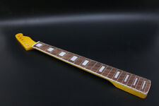New Guitar Neck 21fret 25.5inch Maple Rosewood Fretboard Block Inlay Yellow