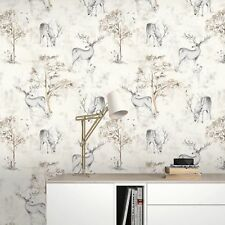 STAG WOODLAND TREES COUNTRY QUALITY FEATURE DESIGNER WALLPAPER RASCH 220919