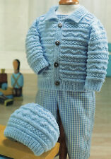 """Baby Textured Jacket and Hat ~   16"""" - 26"""" / 0 - 6 years  DK Knitting Pattern"""