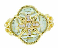 14K Yellow Gold Women's Round Flower Green Amethyst Real White Diamond Ring 6.5