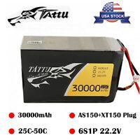 Tattu 22.2V 25C 30000mAh 6S Lipo Battery AS150+XT150 Plug For UAV RC Drone Quad