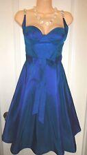 Dina BarEl Blue Iridescent Silk Fit & Flare Rhinestones Dress~Sz-2~GORGEOUS~NWT~