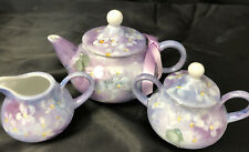Hand-Painted Porcelain Child, Doll, Tea Set Lavender Violets