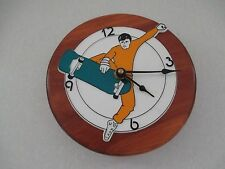 Handmade In Vermont Decorative Pine Male Skate Boarder Wall Clock Battery  BX18
