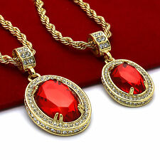 "Men 14k Gold Plated High Fashion 2 pcs set Oval Rubys 4mm 30"" & 24"" Rope chain"