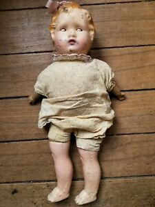 """Antique 20"""" Tin Headed Doll with Composition Arms & Legs, Cloth Body, Eyes Close"""