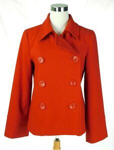 EUC H&M Red/Orange Knit  Women's Peacoat Jacket Size 8, EUR 38 Great Condition!