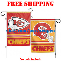 "Kansas City Chiefs Logo Garden Outdoor Flag Double Sides 12x18"" NFL 2019 Fan NEW"