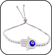 925 Sterling Silver Hamsa Lucky Eye Bracelet #9401