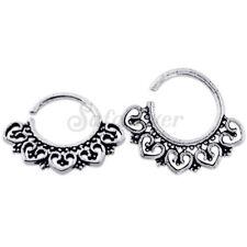 Ornate Tribal Clicker Heart Filigree 925 Silver Septum Ring Nose Piercing 1prs