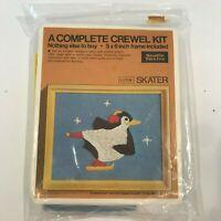 Vintage Crewel Kit With Frame Penguin Skater By Studio Twelve NIP
