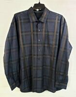 Tommy Bahama Men's 2XL XXL Button Front Plaid Dress Shirt 100% Silk Long Sleeve