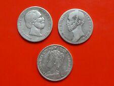 Niederlande, 3 x 1 Gulden, ab 1846, Silber, original