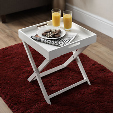 Solid Tableware Wooden Coffee Folding Side Small White Bulter Tray Table New